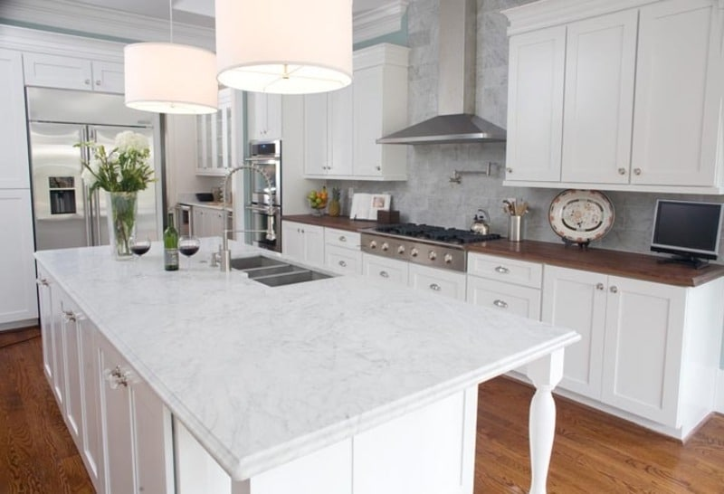 White Kitchen With Different Types Of Floors